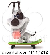 Clipart 3d Jack Russell Terrier Dog Skateboarding 4 Royalty Free CGI Illustration