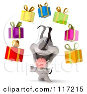 Clipart 3d Happy Jack Russell Terrier Dog With Floating Gift Boxes 3 Royalty Free CGI Illustration