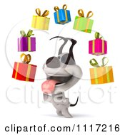 Clipart 3d Happy Jack Russell Terrier Dog With Floating Gift Boxes 2 Royalty Free CGI Illustration