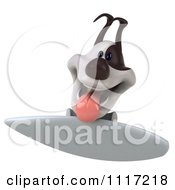 Clipart Of A 3d Happy Jack Russell Terrier Dog Surfing 2 Royalty Free CGI Illustration