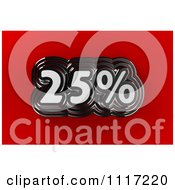 Clipart Of A 3d Chrome 25 Percent Discount Sales Notice On Red Royalty Free CGI Illustration