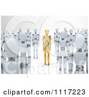 Clipart Of A 3d Unique Gold Mannequin Standing Out In A Crowd Of White Dummies Royalty Free CGI Illustration by stockillustrations