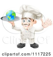Cartoon Happy Chef Holding A Globe On A Platter Royalty Free Vector Clipart