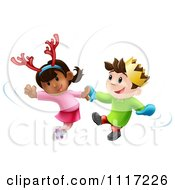 Cartoon Happy Children Dancing To Christmas Music Royalty Free Vector Clipart