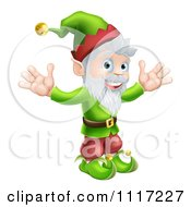Cartoon Happy Gnome Or Christmas Elf Holding Up His Arms Royalty Free Vector Clipart