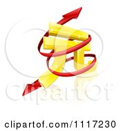 Vector Clipart 3d Gold Yuan Symbol With A Spiraling Red Arrow Royalty Free Graphic Illustration