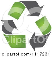 Vector Clipart Of A Green And Black Green Energy Recycle Icon 1 Royalty Free Graphic Illustration by Andrei Marincas