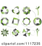 Green And Black Green Energy Recycle Icons