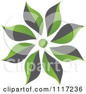 Vector Clipart Of A Green And Black Green Sustainable Energy Flower Icon Royalty Free Graphic Illustration by Andrei Marincas