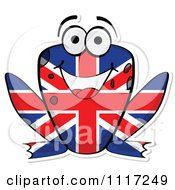 Cartoon Of A British Flag Frog Royalty Free Vector Clipart