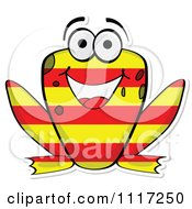 Vector Clipart Happy Australian Flag Frog Royalty Free Graphic Illustration