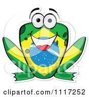 Cartoon Of A Brazilian Flag Frog Royalty Free Vector Clipart