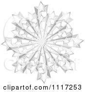 Vector Clipart Of A 3d Silver Star Burst Royalty Free Graphic Illustration