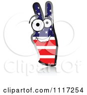 Vector Clipart Of A Happy American Flag Peace Hand Royalty Free Graphic Illustration by Andrei Marincas