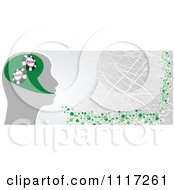 Vector Clipart Of A Grungy Silver And Green Poker Head Banner Royalty Free Graphic Illustration