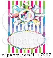 Vector Clipart Of A Starburst And Club Casino Background Frame With Stripes Royalty Free Graphic Illustration