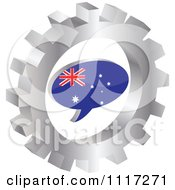 Vector Clipart Of A 3d Australian Flag Chat Balloon In A Silver Gear Royalty Free Graphic Illustration