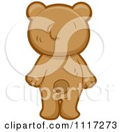 Cartoon Of A Rear View Of A Cute Bear Standing Royalty Free Vector Clipart
