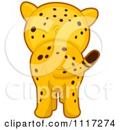 Cartoon Of A Rear View Of A Cute Cheetah Royalty Free Vector Clipart