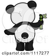 Cartoon Of A Rear View Of A Cute Panda With Bamboo Royalty Free Vector Clipart