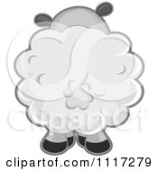 Cartoon Of A Rear View Of A Cute Sheep Royalty Free Vector Clipart
