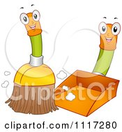 Cartoon Of A Happy Broom Sweeping Into A Dustpan Royalty Free Vector Clipart by BNP Design Studio