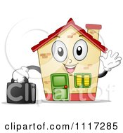 Cartoon Of A Happy House Mascot Waving And Holding A Briefcase Royalty Free Vector Clipart