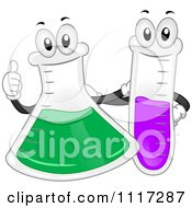Cartoon Of A Happy Science Laboratory Flask And Test Tube Royalty Free Vector Clipart