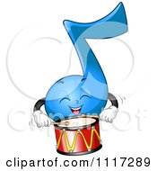 Cartoon Of A Happy Blue Music Note Playing The Drums Royalty Free Vector Clipart by BNP Design Studio