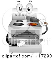 Cartoon Of A Stainless Steel Oven Range Inserting A Pan Royalty Free Vector Clipart