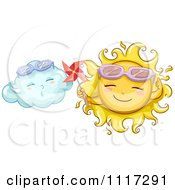 Cartoon Of A Happy Sun Holding A Pinmill By A Cloud Royalty Free Vector Clipart by BNP Design Studio