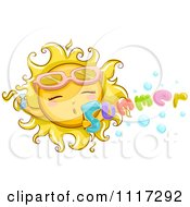 Cartoon Of A Happy Sun Blowing Summer Bubbles Royalty Free Vector Clipart by BNP Design Studio