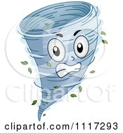 Cartoon Of An Angry Spinning Tornado Royalty Free Vector Clipart