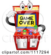 Cartoon Of An Arcade Video Game Pointing To Its Over Screen Royalty Free Vector Clipart
