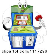 Cartoon Of A Happy Mole Whack Arcade Video Game Machine Royalty Free Vector Clipart by BNP Design Studio