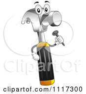 Cartoon Of A Hammer Mascot Holding A Nail Royalty Free Vector Clipart