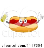 Happy Hot Dog In A Bun Holding A Bottle Of Mustard