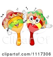 Cartoon Of Happy Mexican Maracas Dancing Royalty Free Vector Clipart by BNP Design Studio