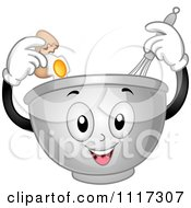 Cartoon Of A Happy Mixing Bowl Cracking An Egg And Using A Whisk Royalty Free Vector Clipart by BNP Design Studio