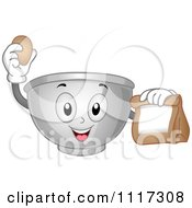 Cartoon Of A Happy Mixing Bowl Holding An Egg And Bag Royalty Free Vector Clipart