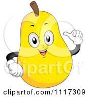 Cartoon Of A Happy Pear Gesturing At Himself Royalty Free Vector Clipart