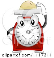 Cartoon Of A Happy Kitchen Scale Weighing Food Royalty Free Vector Clipart