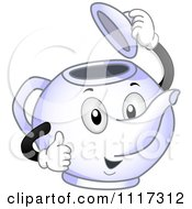 Cartoon Of A Happy Tea Pot Lifting Its Lid And Giving A Thumb Up Royalty Free Vector Clipart by BNP Design Studio