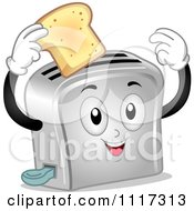 Cartoon Of A Happy Toaster Holding A Slice Of Bread Royalty Free Vector Clipart by BNP Design Studio