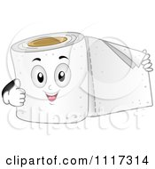 Cartoon Of A Happy Roll Of Toilet Paper Holding Out A Sheet And Giving A Thumb Up Royalty Free Vector Clipart by BNP Design Studio