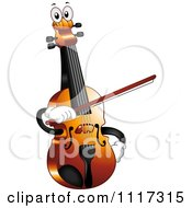 Cartoon Of A Happy Violin Fiddle Holding A Bow Royalty Free Vector Clipart