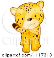 Cartoon Of A Cute Walking Cheetah Royalty Free Vector Clipart