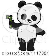 Cartoon Of A Cute Panda With Bamboo Royalty Free Vector Clipart