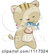 Cartoon Of A Cute Cat Wearing A Bib And Eating A Fish Royalty Free Vector Clipart by BNP Design Studio