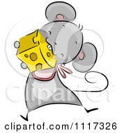 Cartoon Of A Cute Mouse Wearing A Bib And Eating Cheese Royalty Free Vector Clipart by BNP Design Studio